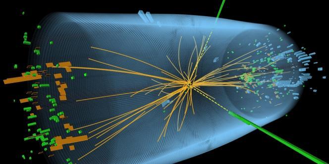 Image du CERN, diffusée le 4 juillet, modélisant une collision de particules.