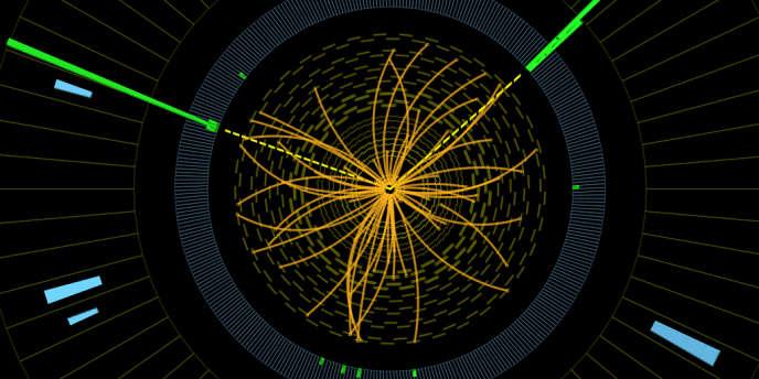 Traces d'une collision de protons mesurées durant la recherche du boson de Higgs au CERN, à Genève.