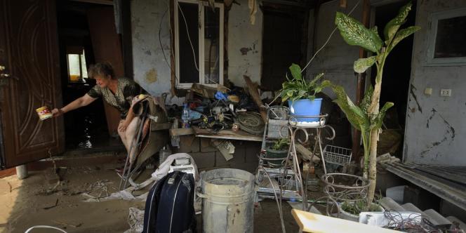 Une maison inondée, le 8 juillet, à Krymsk, dans le sud de la Russie.