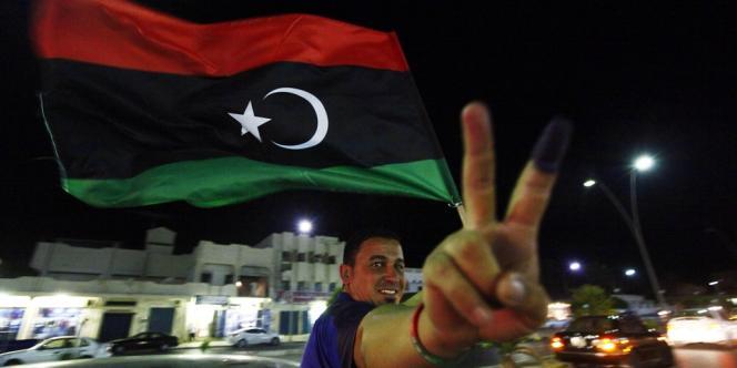 Scènes de joie après les élections libyennes samedi 7 juillet, ici à Syrte.