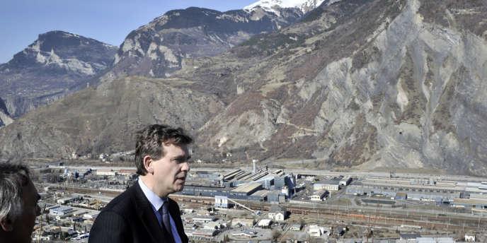 Arnaud Montebourg, le 15 mars 2012 à Saint-Jean-de-Maurienne (Savoie).