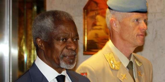 Kofi Annan et le chef de la mission des observateurs en Syrie, Robert Mood, le 9 juillet 2012 à Damas.