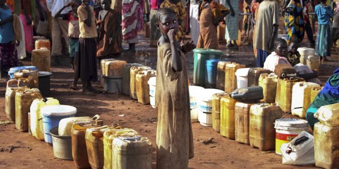 Camp de réfugiés ayant fui les violences à la frontière avec le Soudan, lundi 8 juillet, lors du premier anniversaire de l'indépendance du Soudan du Sud.