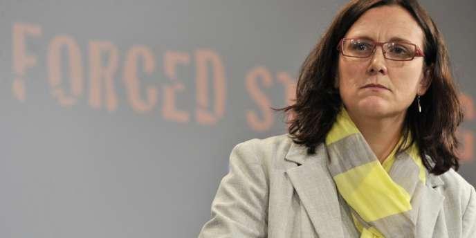 Cécilia Malmström, la commissaire européenne aux affaires intérieures, lors d'une conférence de presse à Bruxelles, le 19 juin.