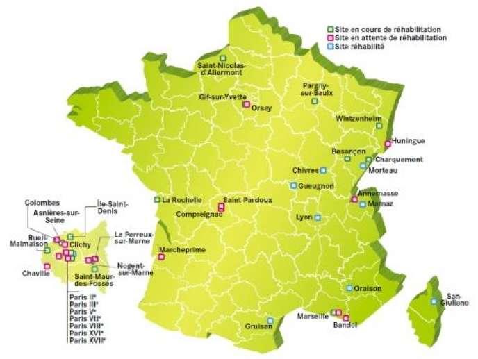 Carte de 43 sites français pollués par la radioactivité publiée mercredi 11 juillet par l'Andra.