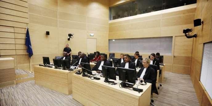 La salle d'audience de la Cour pénale internationale à La Haye aux Pays-Bas, le 10 juillet, lors du procès de l'ancien chef de milice congolais Thomas Lubanga.