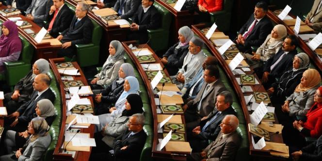 Les nouveaux membres de l'Assemblée constituante tunisienne réunis pour la séance inaugurale, le 22 novembre 2011.