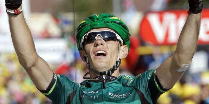 Pierre Rolland, heureux vainqueur à La Toussuire, le 12 juillet.