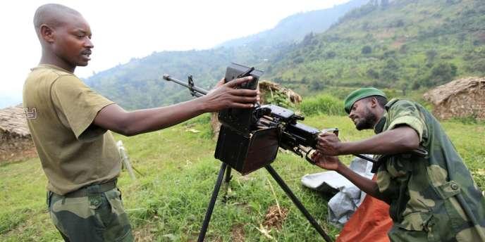 Des rebelles du mouvement M23, dans la province du Nord-Kivu, en RDC, le 12 juillet.