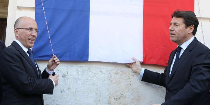 Le député Eric Ciotti (à gauche) et le député maire de Nice Christian Estrosi lors de l'inauguration de la place Garibaldi, le 24 mars 2012 à Nice.