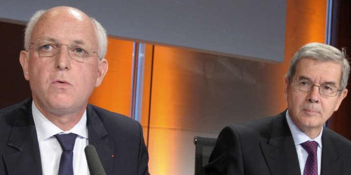 Thierry Peugeot (à gauche), président du conseil de surveillance du groupe PSA-Peugeot-Citroën, aux côtés de  Philippe Varin, président du directoire, en juin 2012.
