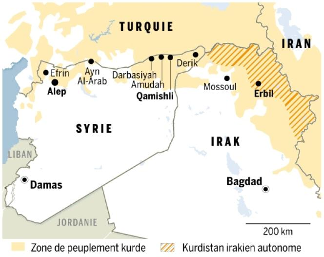 Carte de zones de peuplement kurde de Syrie et du Kurdistan irakien autonome.