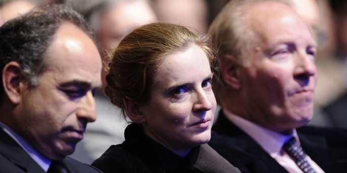 Nathalie Kosciusko-Morizet, entre Jean-François Copé et Brice Hortefeux, lors d'un meeting de campagne du candidat Nicolas Sarkozy à l'élection présidentielle, à Marseille le 19 février 2012.
