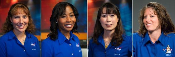 Pour la première fois, quatre femmes seront en même temps dans l'espace. De gauche à droite : Dorothy Metcalf-Lindenburger, Stephanie Wilson, Naoko Yamazaki et Tracy Caldwell-Dyson.
