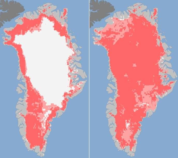 Sur ces images du Groenland issues des observations de 3 satellites de la NASA les 8 et 12 juillet, les zones où un satellite a détecté une fonte de glace sont marquées en rose pâle. Les 3 satellites ont fait la même observation sur celles marquées en rose foncé.