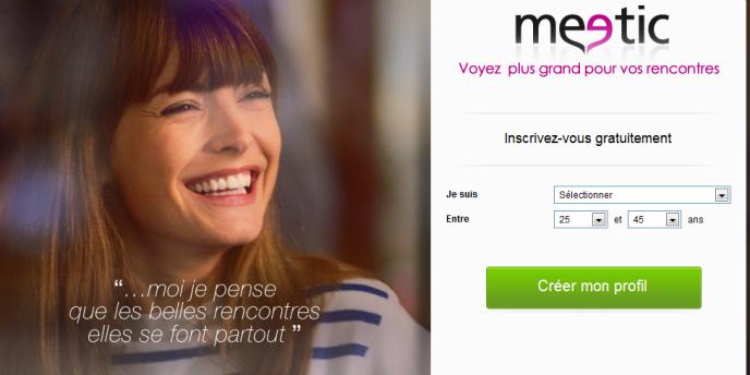 La page d'accueil de Meetic.