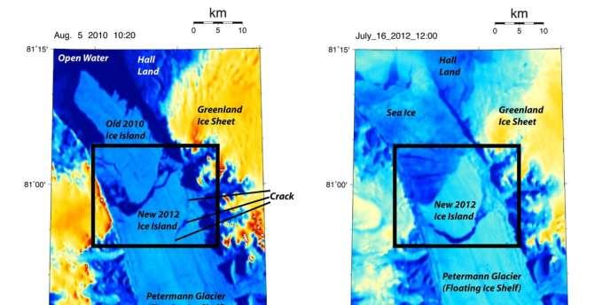 Formation d'une fissure dans le glacier Petermann, le plus grand du Groenland entre 2010 et 2012. Le détachement de ce bloc de glace a été observé par la NASA le 16 juillet.