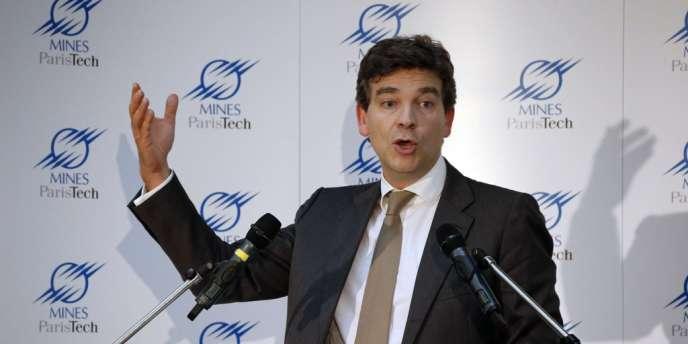 Le ministre du redressement productif, Arnaud Montebourg, lors d'une conférence à l'école des Mines (MinesParisTech), à Paris, le 19 juillet 2012.