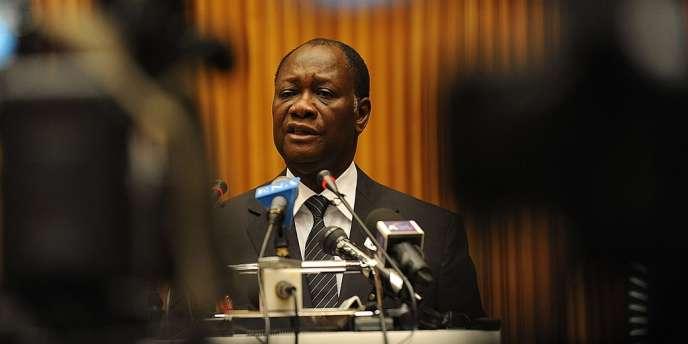 Alassane Ouattara, le 14 juillet 2012.