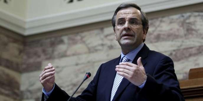 Le premier ministre grec, Antonis Samaras, lors d'un discours devant les membres de son parti Nouvelle démocratie, au Parlement, à Athènes, mardi 24 juillet.