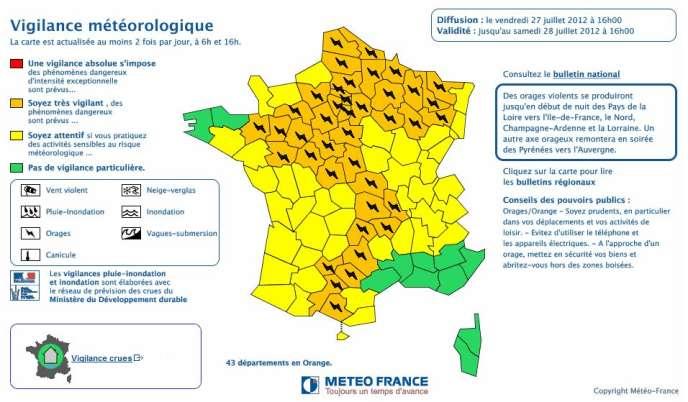 L'Auvergne, l'Ariège, l'Aveyron, la Haute-Garonne, la Loire, le Tarn et le Tarn-et-Garonne ont été placées sous vigilance orange à 16 heures.  En revanche les risques sont écartés pour la Loire-Atlantique et la Vendée.