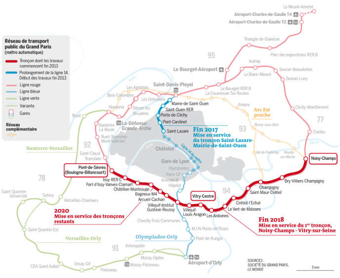 Carte du futur réseau de transport public du Grand Paris (métro automatique).