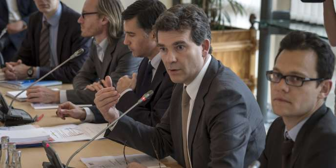 Arnaud Montebourg, lors d'une réunion avec les syndicats d'Arcelor-Mittal, le 27 juillet à Paris.