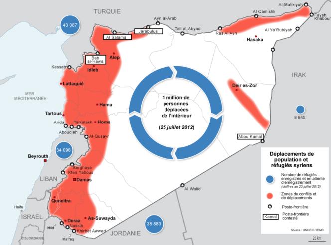 La carte des réfugiés syriens recensés par l'ONU.