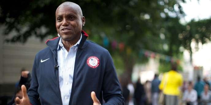 Le nonuple champion olympique Carl Lewis était présent à Londres, ici le 28 juillet.