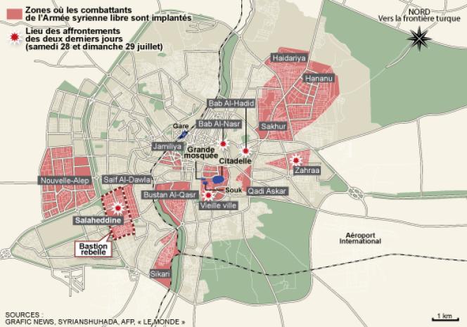 La carte des affrontements à Alep.