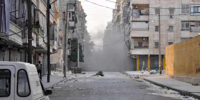 Une rue du quartier de Salaheddine à Alep le 29 juillet 2012.