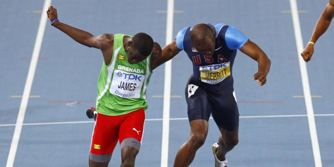 L'incroyable finish du 400 m aux Mondiaux de Daegu entre Kirani James et l'Américain LaShawn Merritt, le 31 août 2011.
