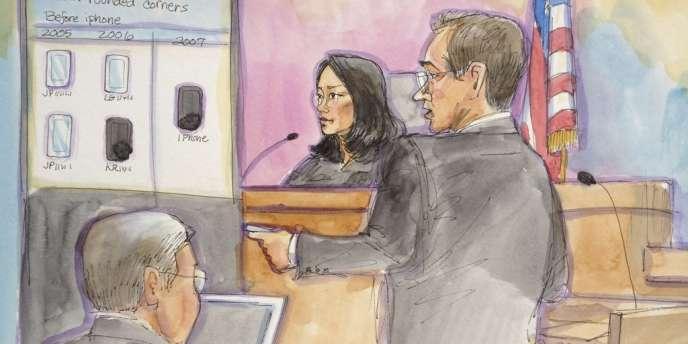 Croquis du procès opposant Apple et Samsung.