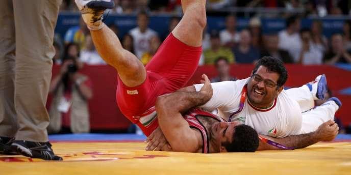 L'Iranien Ghasem Gholamreza Rezaei lors de sa victoire en moins de 96 kg aux Jeux olympiques de Londres, en 2012.