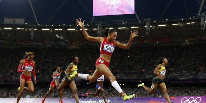 Allyson Felix devient championne olympique de 200 m. Londres, le 8 août.