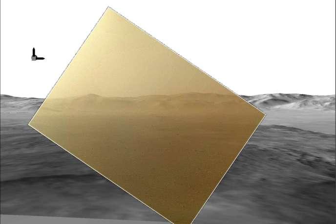 L'image en couleur transmise mardi 7 août par Curiosity, remise en contexte à l'aide d'images de synthèse.