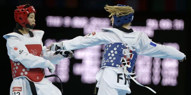 Marlène Harnois lors de son combat face à la Japonaise Mayu Hamada pour la 3e place des –57 kg.