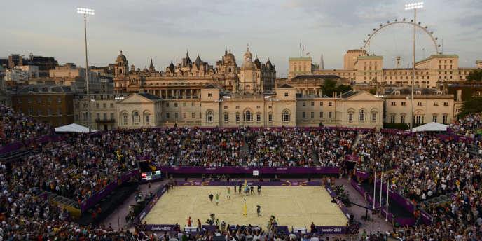Le site du beach volley, en plein centre de Londres, à deux pas de Downing Street.