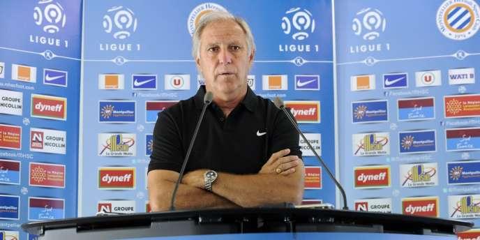 René Girard, entraîneur de Montpellier, lors de la conférence de presse d'avant-match. Montpellier, le 8 août.