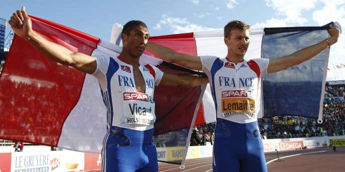 Christophe Lemaitre et Jimmy Vicaut, ici à Helsinki le 28 juin, ont l'occasion de redorer leur blason lors du relais 4 × 100 m.