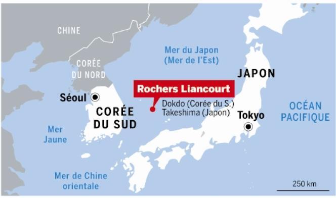 Carte de situation de l'île des rochers Liancourt entre le Japon et la Corée du Sud.