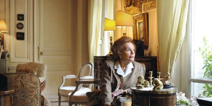 Edith Cahier-Mitterrand, le 5 juillet dans son appartement du 16e arrondissement, à Paris.