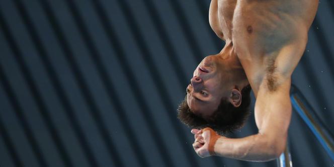 Tom Daley, la star britannique du plongeon. Ici à l'Aquatics Center le 10 août.