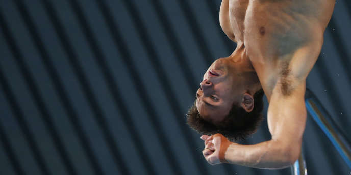 Tom Daley, la star britannique du plongeon. Ici à l'Aquatics Center le 10 août.