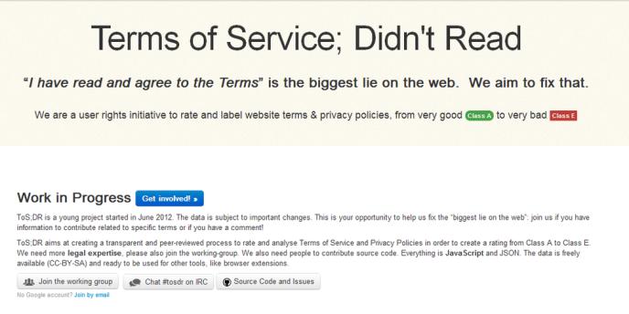 La page d'accueil du site ToS;DR :