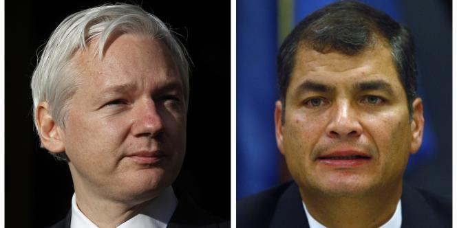 Julian Assange (à gauche) et le président équatorien Rafael Correa (à droite).