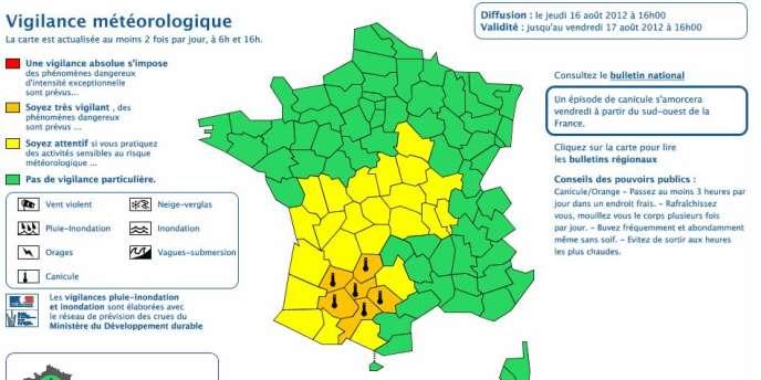 Carte de vigilance Météo France, jeudi 16 août.