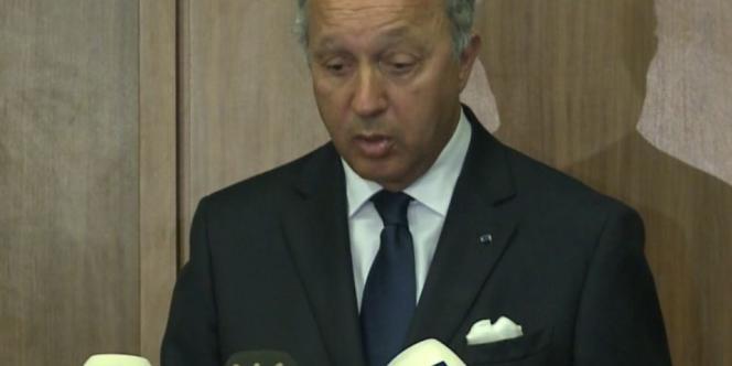 Laurent Fabius lors d'une conférence de presse sur le conflit syrien, à Beyrouth au Liban. Le 17 août 2012.