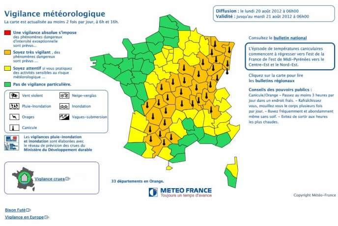 Le plan de vigilance orange canicule reste maintenu sur 33 départements lundi 20 août, mais la zone de très forte chaleur aura tendance à régresser en cours d'après-midi vers l'est du pays.