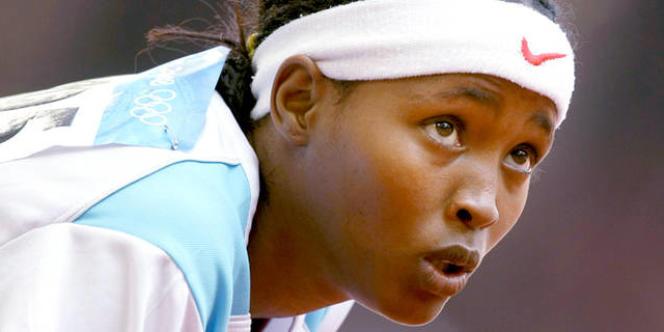 Saamiya Yusuf Omar, le 19 août 2008, après son 200 mètres aux JO de Pékin.